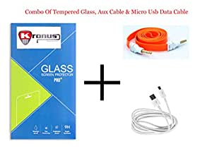 Kronus Micro Usb Data Cable, AUX Cable & 2.5D Curve edged Tempered Glass For HTC Desire 816 Dual Sim
