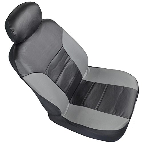 motor trend two tone pu leather car seat covers black classic accent gray sides premium. Black Bedroom Furniture Sets. Home Design Ideas