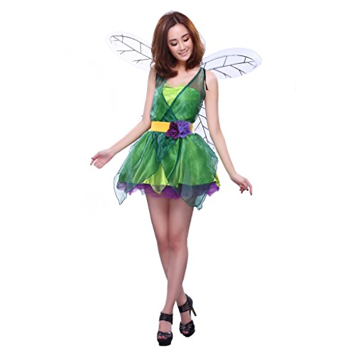 [BESHOM Forest green elf costume Halloween dress flower fairy princess drag queen transvestites party dress photographic performances] (Elf Outfit For Women)