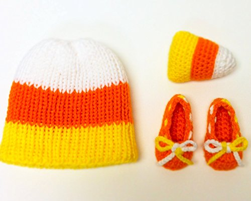 3-Piece Set Yellow Orange White Candy Corn Baby Hat, Shoes and Toy 0-3 month