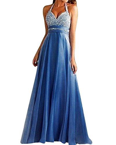 SaiDeng Vestiti Donna Vintage V Neck Lunghe Eleganti Abito Da Sera Donna Casual Vestito Blu S