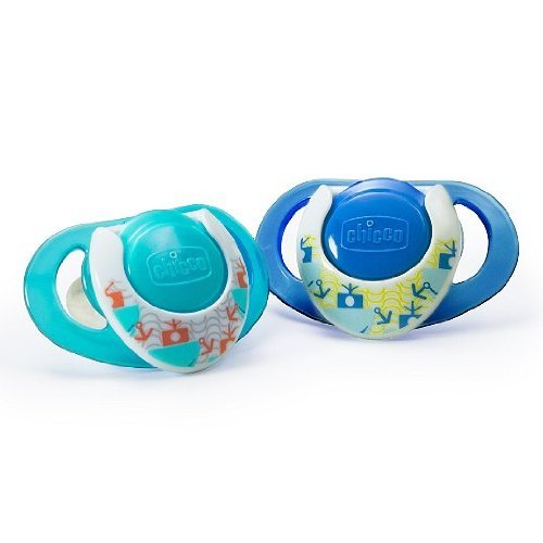 Chicco NaturalFit Deco Orthodontic BPA and LATEX FREE Pacifiers (12+ Months, Blue) - 1