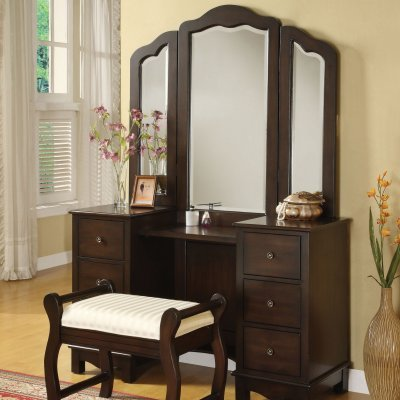 Luxury bedroom ideas acme furniture espresso bedroom for Bedroom furniture vanity