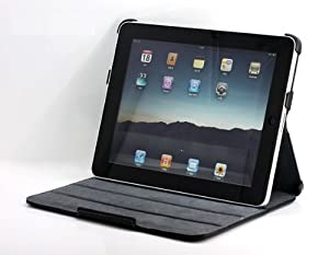 Pyrus Electronics Slim Genuine Leather Case for Apple Ipad Tablet (Black) + Ipad Screen Protector by Pyrus Electronics