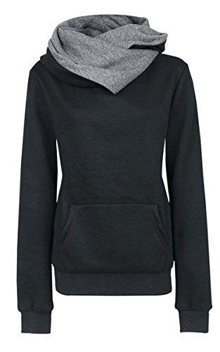 Ecowish Womens Special Desigan High Collar Long Sleeve Fleece Hoodied Sweatshirt,US L(Asian XL),Black (Cowl Hoodie compare prices)