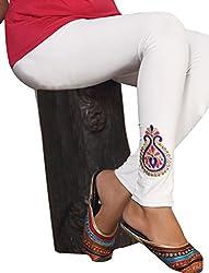 1 stop fashion White Cotton Lycra-4 Way Leggings