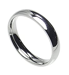 buy 4Mm Stainless Steel Comfort Fit Plain Wedding Band Ring Size 4-12; Comes With Free Gift Box (13)