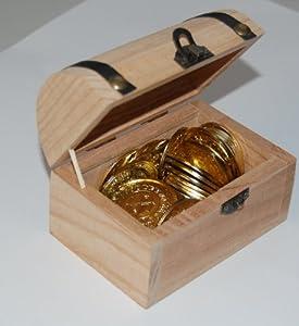 Schatzkiste mit Aufdruck aus Massivholz, mit Goldmünzen gefüllt