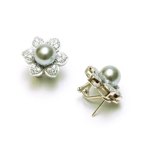 Sterling Silver 8mm Light Gray Shell Pearl and Cubic Zirconia Flower Earrings
