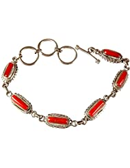 Exotic India Coral Bracelet With Toggle - Sterling Silver