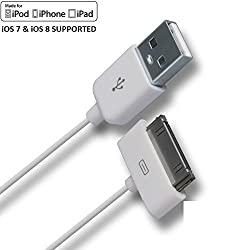 AKSHAJ Best Quality Data USB Charging / Data Sync Cable For iPhone, iPhone 4, 4S, iPod, iPad 1 & 2 - White - 1.5 M