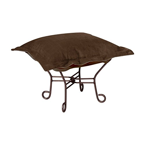 Howard Elliott 510-220 Bella Puff Scroll Ottoman with Titanium Frame, Chocolate