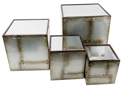 "Set of 4 Square Mirrored Industrial Display Risers - 11"", 9"", 7"", 6"""