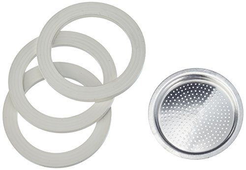 3 gaskets and 1 filter for aluminium coffee-pots Bialetti 2 cups. (Moka Express 2 Cup compare prices)