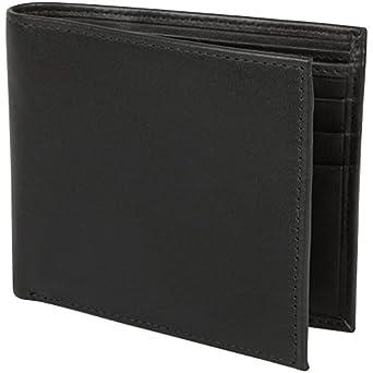 RFID Blocking Mens Credit Card Leather Bifold Wallet (All Black)