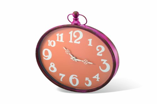 Foreside Home and Garden Oval Wall Clock, Tangerine