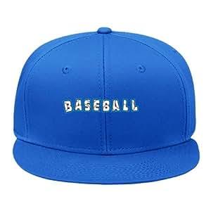 Amazon.com: Baseball Text Blue Cotton Sport Head Wear Snapback Hat Cap
