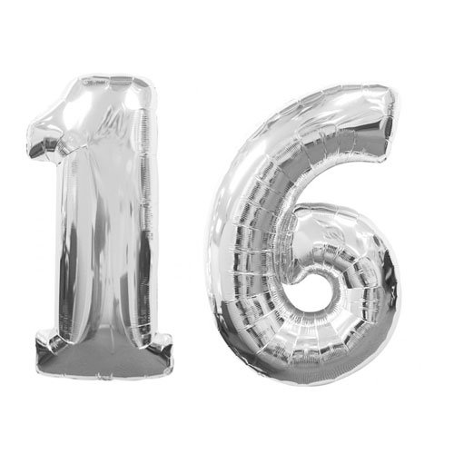 C-Spin 40 INCH Big Large 16 Metallic Silver Number Foil Balloon 40