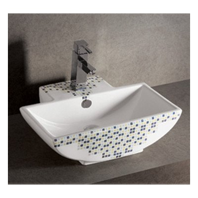 Whitehaus Collection WHKN4047-03 Isabella Decorative Tile Rectangular Bathroom Sink with Center Drain