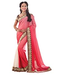 Cbazaar Pink Satin Chiffon Saree