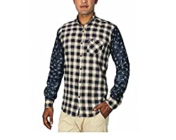 China Collection Men's Multicolor Denim Casual Shirt (Large)
