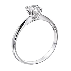 GIA Certified 14k white-gold Round Cut Diamond Engagement Ring (0.38 cttw, I Color, SI1 Clarity)