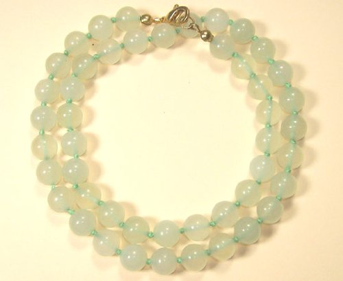 Sunsara - Serpentine Healing Crystal Necklace 8 mm 48 cm knotted