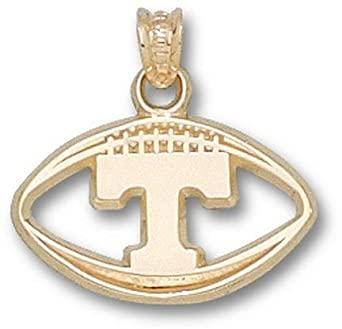 Tennessee Volunteers Pierced T Football Pendant - 14KT Gold Jewelry by Logo Art