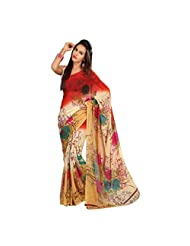 Admyrin Multi Colour Georgette Saree With Georgette Blouse Piece