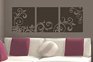 """Decorative Flower Panel vinyl wall lettering words sticky art home decor quotes stickers decals, 16""""x45"""", Warm Grey Matte"""