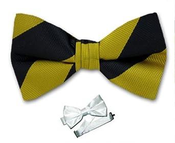 PBTS-ADF-400 - Black - Gold - Pre-Tied College Stripe Bow Tie