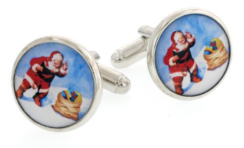 JJ Weston silver plated cufflinks with an image of Santa Claus or Father Christmas with presentation box. Made in the U.S.A
