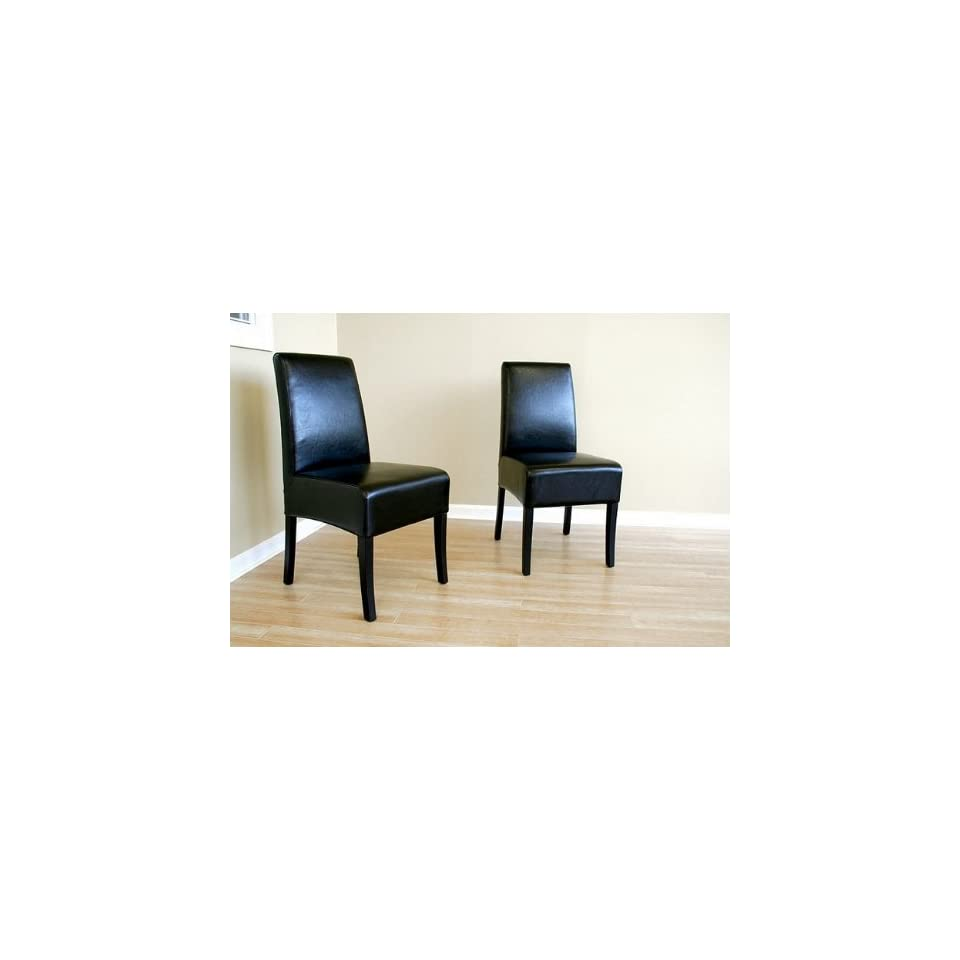Set of 2 Contemporary Black Full Leather Parson Dining Chairs