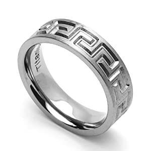 6MM Comfort Fit Titanium Wedding Band Greek Key Flat Ring (Size 6 to 14) Size 10