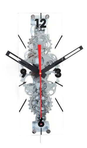 Maple's Large Moving Gear Wall Clock, Rectangular Lens
