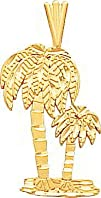 14K Yellow Gold Palm Trees Pendant Charm FindingKing