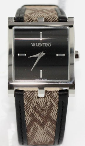 Valentino Watches Monogram Leather Watch in Black, Silver Tone & Taupe - V62MBQ9909S009