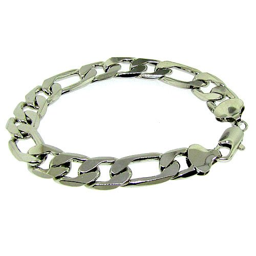 Figaro Bracelet - Silver Plated - Men's - 12MM WIDE, Bling solid chunky