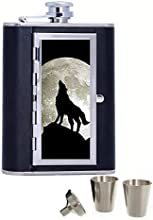 Wolf Custom Personalized Printed 6oz Black Faux Leather Hip Flask