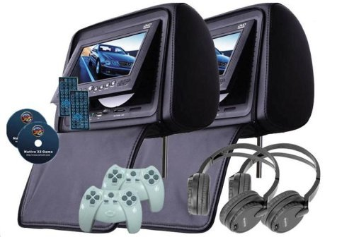 """Esky Pair Of Black Headrest 7"""" Lcd Car Monitors With Region Free Dvd Player Usb Sd Wireless Headhones + Wireless Game Controllers + 32 Bit Games front-387311"""