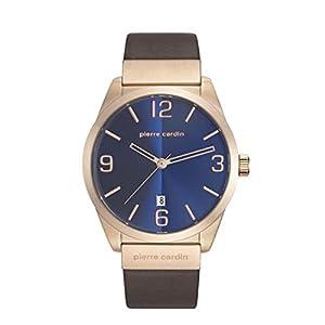 Pierre Cardin Men's 43mm Brown Leather Band Steel Case Quartz Blue Dial Analog Watch PC107911F03