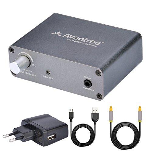 Avantree DAC Convertitore Analogico Digitale Audio Adattatore con Cavo Ottico RCA da 2 metri e Controllo del Volume, da TV Ottico/Coassiale a jack Cuffie da 3.5mm o Connettori Degli Altoparlanti