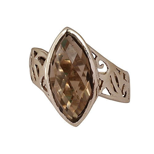 925 Sterling Silver Smoky Topaz Marquise Gemstone Ethnic Ring (multicolor)