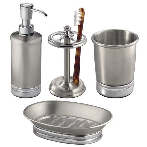 Interdesign york metal bath accessory set soap dispenser for Bathroom tumbler sets
