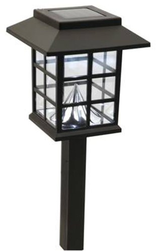 Moonrays 91242 Mission Style Lamp Solar Powered Plastic Path Light, 2 Pack