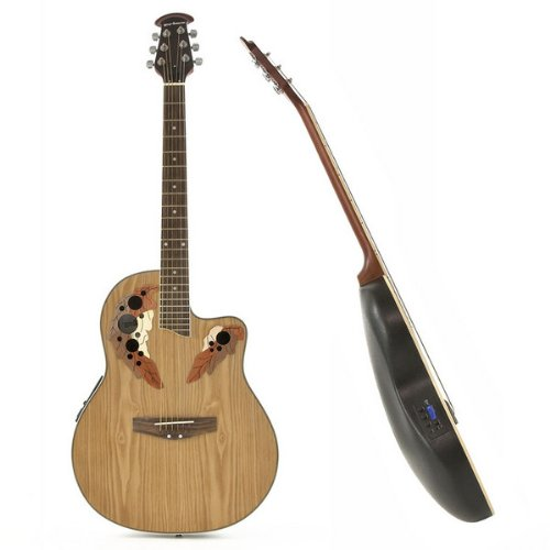 Deluxe Round Back Acoustic Guitar by Gear4music Natural