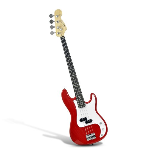 """Electric Bass Guitar """"Gecko Ge-655 Pb"""" - Basswood Body, Maple Neck, Single Pickup (Red)"""