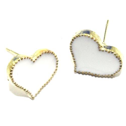 Zehui Cute Enamel Korea Lovely Style Love Heart Stud Earring