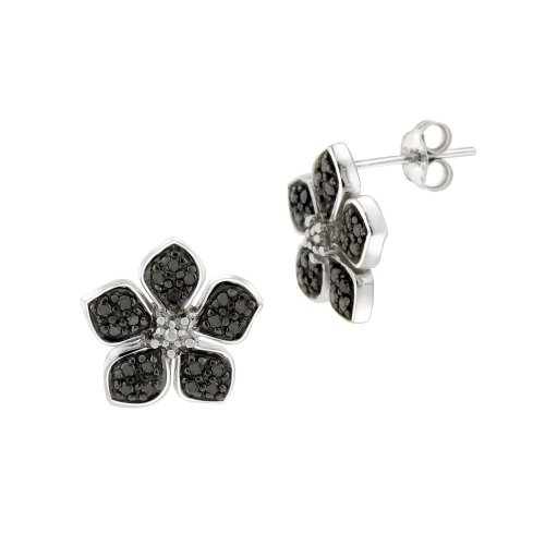 Sterling Silver Black-Diamond Flower Earrings