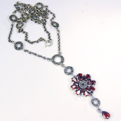 Red Elegance Garnet & Sterling Silver Necklace